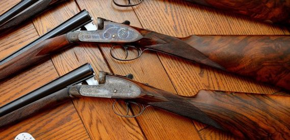 Some of the pretty hardware on the hunt. These are Armas Garbi shotguns.